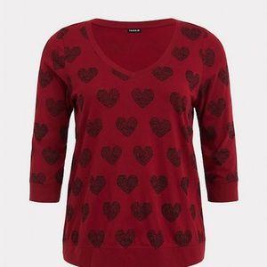 Torrid Red Black Heart V Neck Tee